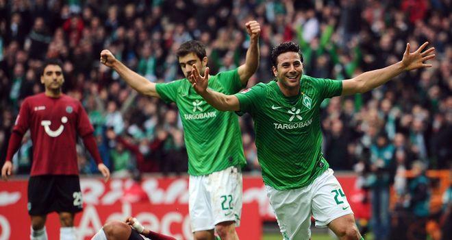Claudio Pizarro: Broke the deadlock as Bremen saw off Hannover