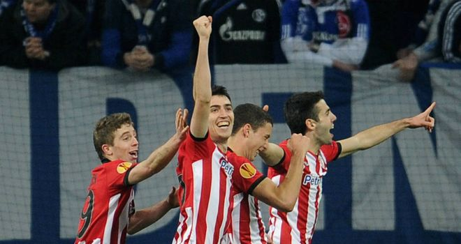 Athletic Bilbao celebrate after scoring during the 4-2 Europa League win over Schalke