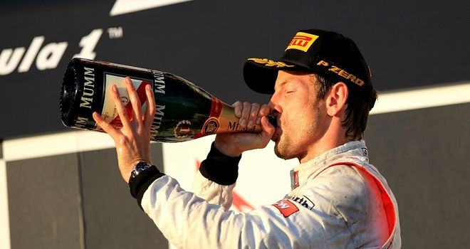 Jenson Button: Celebrates his victory in Australia