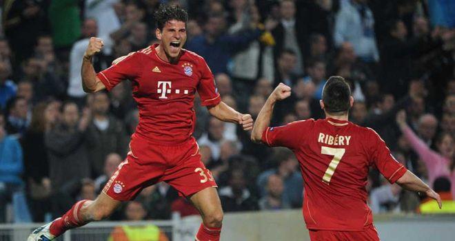 Bayern Munich celebrate Mario Gomez's opening goal
