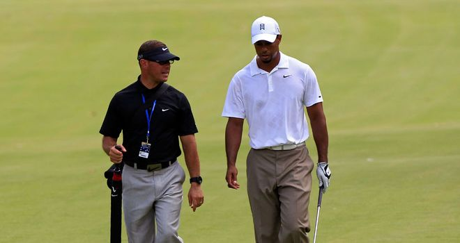 Tiger Woods with coach Sean Foley
