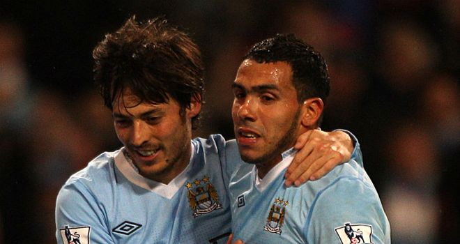 David Silva and Carlos Tevez were on target for Manchester City against West Brom