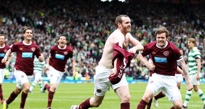 Beattie: Celebrates his goal at Hampden