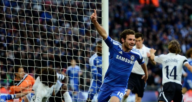 Goal-line controversy: Juan Mata celebrates his 'goal' for Chelsea
