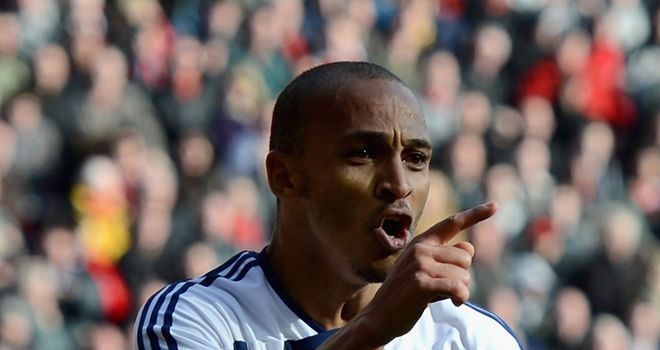 Peter Odemwingie celebrates his winning goal at Anfield