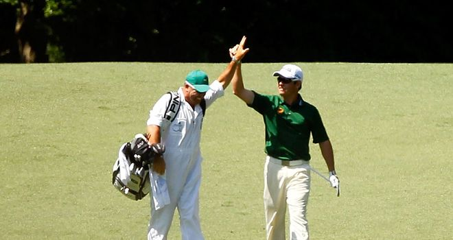 Louis Oosthuizen: South African celebrates his award-winning albatross at the Masters
