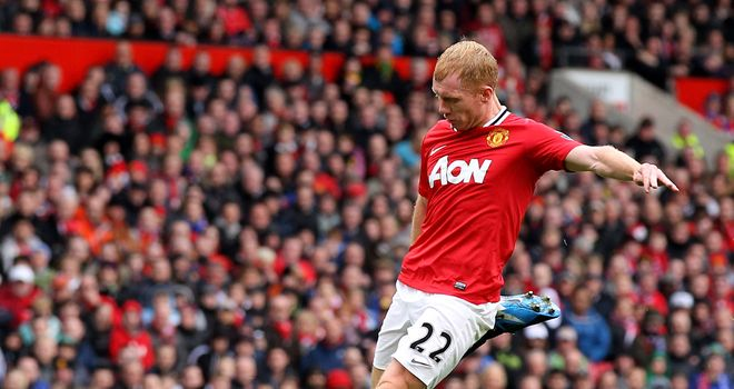 Paul Scholes: Midfielder has been tipped for an England call for Euro 2012 by his Manchester United team-mates