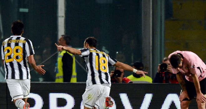Fabio Quagliarella celebrates his goal for Juventus in the 2-0 win over Palermo