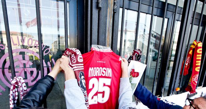 Tributes to Piermario Morosini were placed by supporters at the main gates of Livorno's Armando Picchi stadium