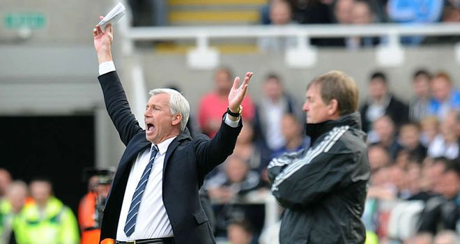 Alan Pardew: Newcastle boss looks on during his side's 2-0 win over Liverpool