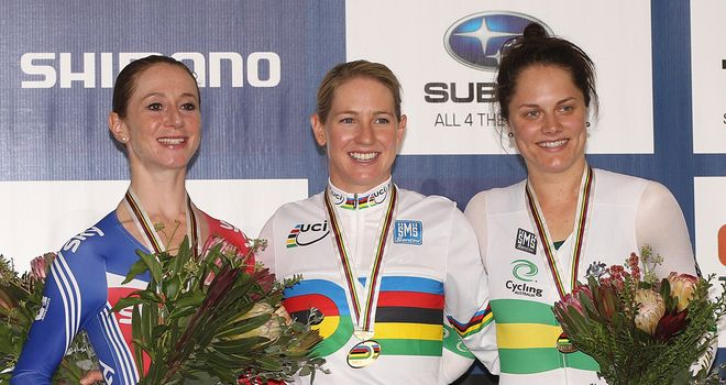 Wendy Houvenaghel: All smiles on the podium after her silver medal