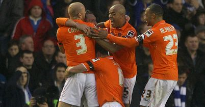 Dobbie: Is mobbed by team-mates