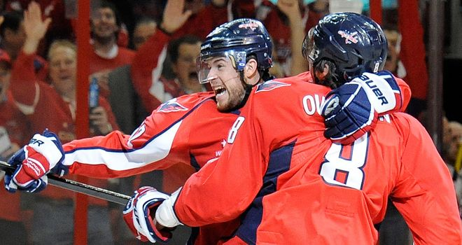 Alex Ovechkin: Celebrates with the Capitals