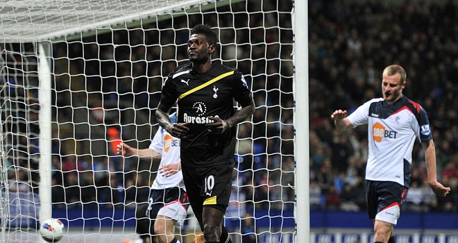 Emmanuel Adebayor: His double helped Tottenham thrash Bolton at the Reebok