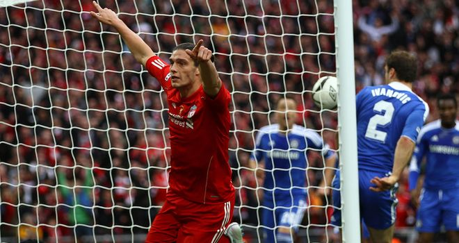Andy Carroll: Celebrates what he thought was a goal