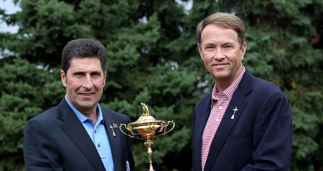 The two skippers: Jose Maria Olazabal and Davis Love
