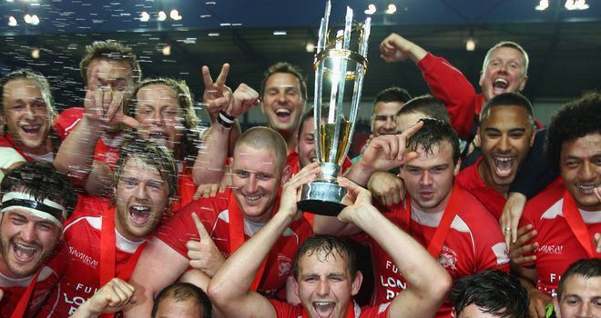 London Welsh celebrate winning the Championship title in May