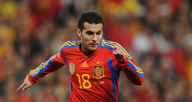 Pedro: In fine form for Spain against Belarus in World Cup qualifier