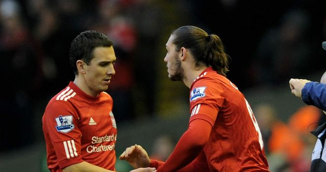 Stewart Downing and Andy Carroll: Have been backed to shine at Liverpool by Jamie Carragher