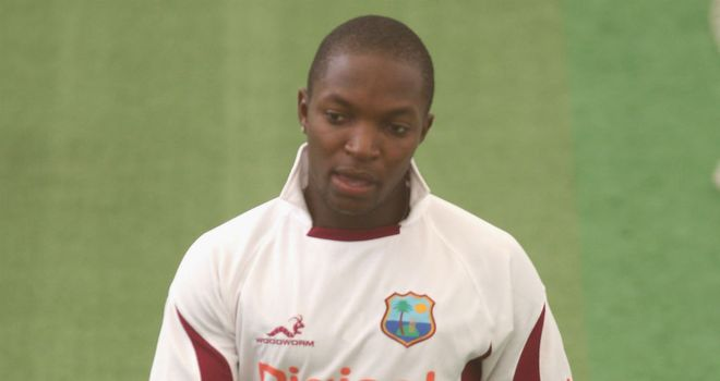 Fidel Edwards practising in Lord's indoor nets on Tuesday