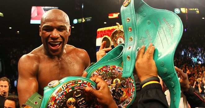 Floyd Mayweather: Celebrates his win over Miguel Cotto