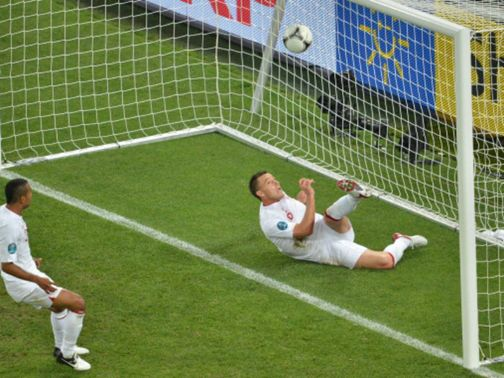Ukraine's disallowed goal against England.