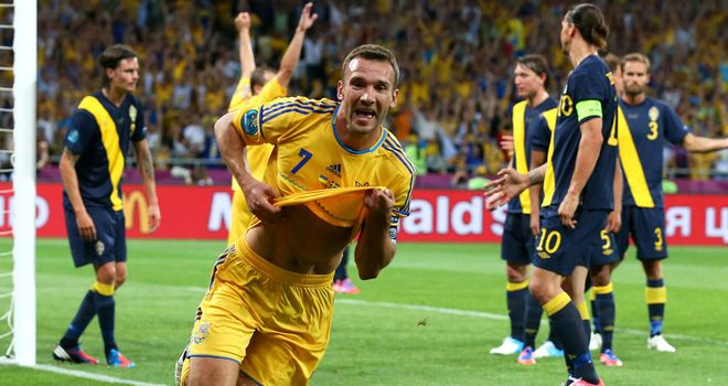 Andriy Shevchenko: Scored twice as Ukraine came from a goal down to defeat Sweden