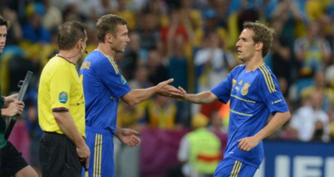 Andriy Shevchenko: Emerging from the bench against England in what turned out to be his final game for Ukraine