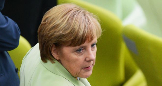 Angela Merkel: The German Chancellor was at the PGE Arena to watch the victory over Greece