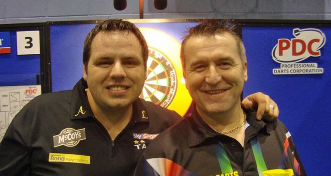 Birmingham finalists Adrian Lewis and Ronnie Baxter (pic PDC)