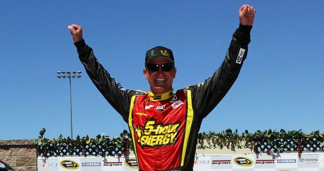 Clint Bowyer: Celebrates finishing first at Sonoma on Sunday