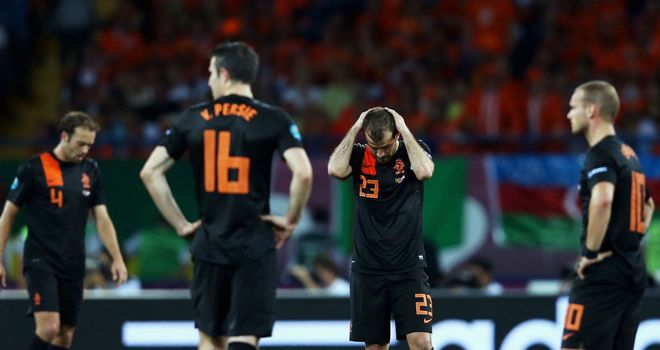 Holland: Out of Euro 2012 after disastrous campaign saw them suffer three defeats