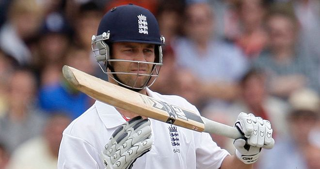 England batsman Jonathan Trott asking for a decision to be reviewed