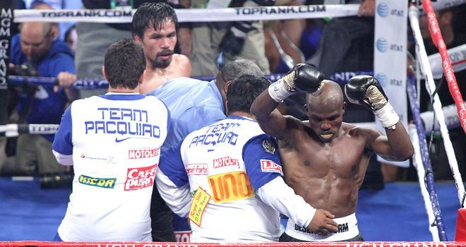 Bradley celebrates half-heartedly at the end of the bout