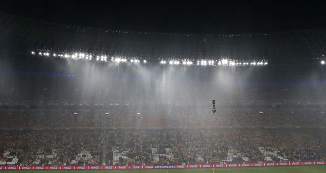The Donbass Arena pitch has recovered from Friday's thunderstorm, but England will not train there