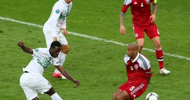 Portugal's Silvestre Varela denies Denmark a point with a late goal in Lviv - to the annoyance of Morten Olsen