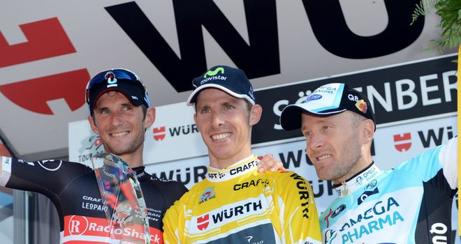 Final podium (l-r): Frank Schleck, Rui Costa and Levi Leipheimer