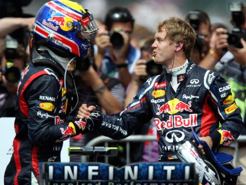 Webber is congratulated by Vettel