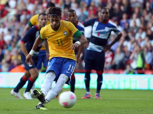 Neymar tucks home a penalty at the Riverside.