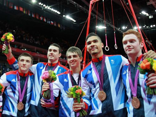 Great Britain: Celebrate winning a bronze medal