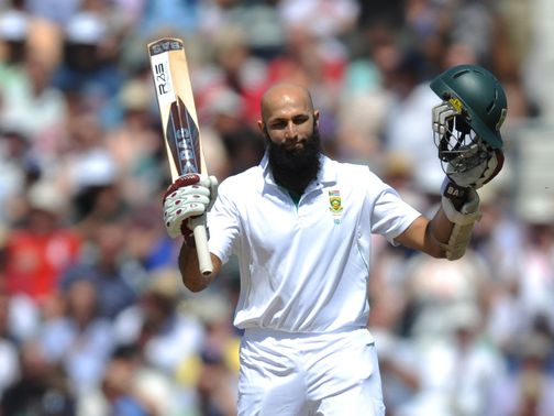 Hashim Amla celebrates reaching 250