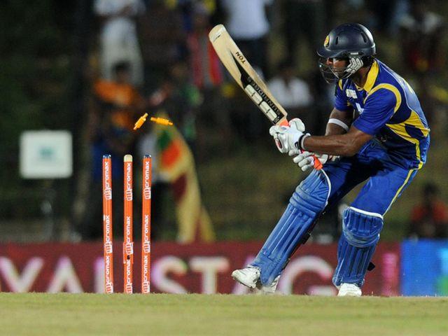 Kumar Sangakkara is bowled for 133