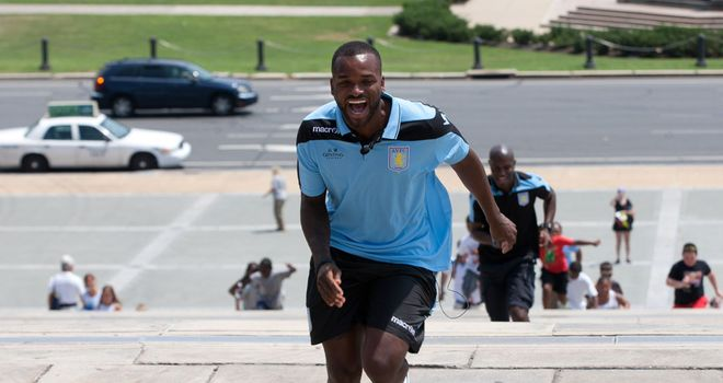 Darren Bent: The Villa striker proves he is up for the fight by running up the steps of the Philadelphia Museum of Art made famous in the film Rocky