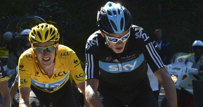 Power struggle: Chris Froome, right, and Bradley Wiggins, left, could be co-leaders of Team Sky at the 2013 Tour de France
