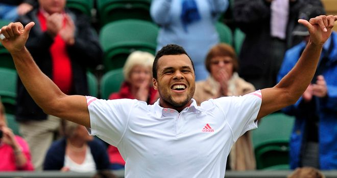 Jo-Wilfried Tsonga: delighted with his win on Court One