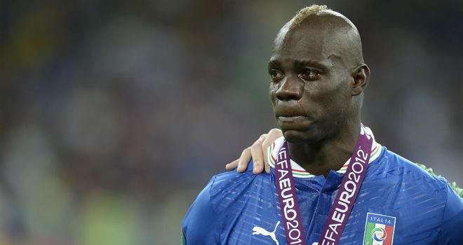 Mario Balotelli: The striker was in tears after Italy&#39;s record breaking 4-0 defeat to Spain in the Euro 2012 final