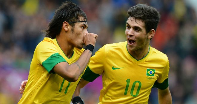 Neymar: The Santos man celbrates his stunning free-kick for Brazil agains Belarus in London 2012 with Chelsea new-boy Oscar