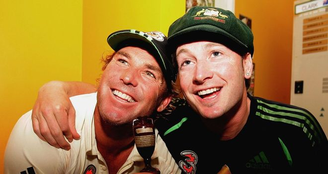 Shane Warne celebrates Australia's 2006 Ashes win with best friend Michael Clarke
