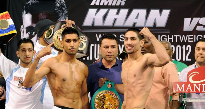 Amir Khan (L) and Danny Garcia both came in under the 140lb limit