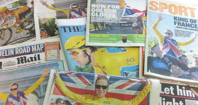 Bradley Wiggins dominated front and back pages alike in the UK's national press